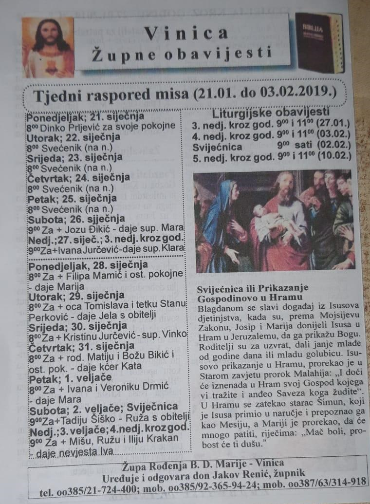 Tjedni raspored misa (21.01. do 03.02.2019.)